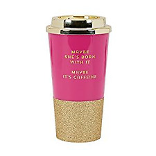 C.R. Gibson 16 Ounce Plastic Travel Cup With Glitter Base,