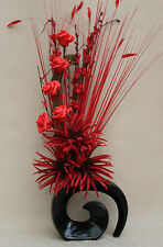 ARTIFICIAL SILK RED PHOENIX, RED ROSE STEM AND GRASSES IN BLACK FOSSIL VASE