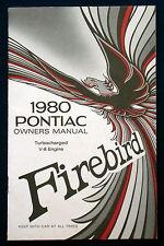 Owner's Manual * Betriebsanleitung  1980 Pontiac Firebird Turbocharged V8  (USA)