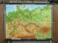 Superbe Vintage Pull Down école Carte géographique de l'Allemagne