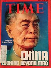 VINTAGE TIME MAGAZINE FEBRUARY 3 1975 PREMIER CHOU EN-LAI ON COVER W/ LABEL
