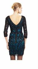 NWT $449 SUE WONG Embellished 3/4 Sleeve Lace Overlay Black/Teal Short Dress 6