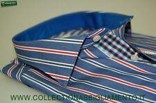 Camicia moda uomo Ingram vestibilità slim fit  cotone azzurra a righe Taglia 40