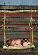 Real Wood Swing Photography Prop for Newborns Baby Photos Style #2 Twine Rope