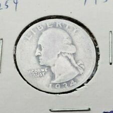 1934 P 25C Washington Quarter 90% Silver Coin