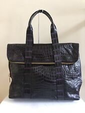 Custom Made Genuine Crocodile Shoulder Bag Handbag Two-Tone Black/Purple, Large