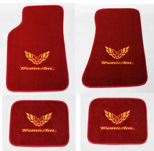 NEW! Carpet Floor Mats 1982-2002 PONTIAC FIREBIRD Embroidered Logo RED on All 4