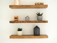 RUSTIC CHUNKY PINE FLOATING SHELVES SHELF MANTLE TIMBER UK MADE