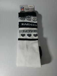 NFL Oakland Raiders Team Logo Men Dress Socks Peace and Love Medium 5-10