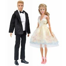 E-TING Wedding Dress Party Clothes + Formal Suit Outfit For Barbie Ken Doll A