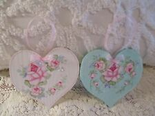 Shabby Chic Hand Painted Roses - Set of Two Wood Heart Ornaments-White & Blue