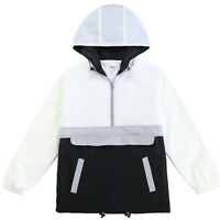 Men's Pullover Half Zip Hooded Fleece Lined Windbreaker Jacket White Black S-XL
