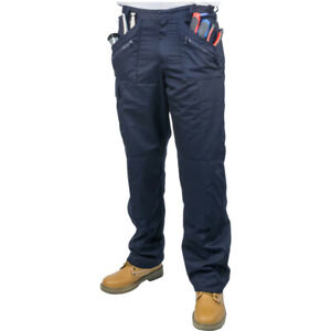 PORTWEST WORK CARGO MULTI POCKET ACTION TROUSERS KNEE PAD NAVY 34W LONG