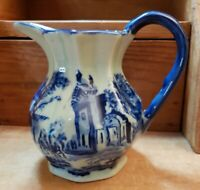 """VICTORIA WARE Flow Blue Ironstone Fluted Water Pitcher Town Scene, 6"""""""