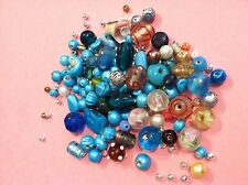 Job Lot Mixed bag of random Jewellery Making Glass Beads & Findings - 100g