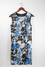 Marc New York Womens Size 6 Blue Black Dress Floral Sleeveless Perforated Sheath