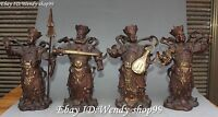 """11"""" China Pure Bronze Gilt 4 Great Heavenly Kings immortals Hold Arms Set Statue"""