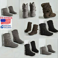 Womens Fur Lined Boots Low Chunky Flat Heel Boots Buckle Suede Boots Shoes Size