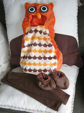 Infant Costume 6-12 mo. Owl Bird Warm Brown Orange Hoodie, Pants, No slip feet