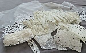 Lot 15 Pieces Stiff & Sometimes Thick Laces For Projects, Some Soutache on Tulle
