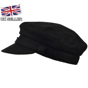 BLACK WOOL BLEND FIDDLER CAP BAKER BOY BRETON NEWSBOY FISHERMAN HAT MENS WOMENS