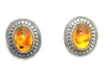 Orecchini di bigiotteria Bottone ovale ambra