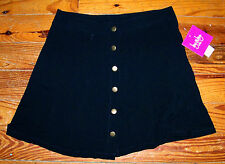 New! Girls BY BY GIRL Solid Black Rayon Button Up School Skirt Size Large 14