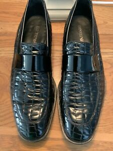 Emporio Armani Men's Size 9/43 Patent Leather Black Slip On Shoes
