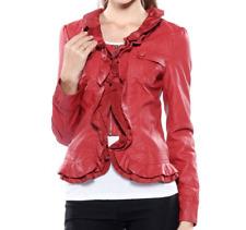 Caroline Morgan Jacket PLUS SIZE 20 Rust Red Frill Leather Look Waterfall BNWT