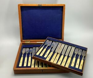 Amazing 19th Century Ecclesiastical 12 Person Mappin Bros Cased Cutlery Service