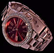 Excellanc Damen Armband Uhr Bordeaux Rot Rose Gold Farben Metall Strass BD-12