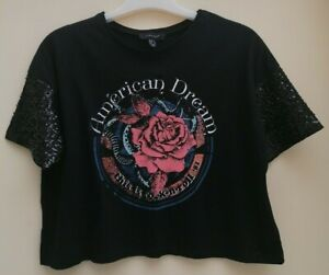 WOMEN'S BLACK CROP TOP / T-SHIRT - SIZE 12 - ATMOSPHERE AT PRIMARK - NEW