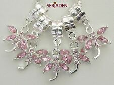 5 Pink Stone Dragonfly Dangle Charms Fit European Style 20 * 33 & 5 mm Hole R003