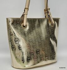 Nwt $248 Michael Kors Jet Set Medium Tote Shoulder Bucket Bag Handbag Pale Gold