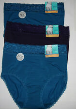 3 Vanity Fair 13281 Lace Waistband Brief Panty Set Stretch Nylon 7 L Purple Blue