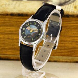RARE 1950's Pobeda ZIM USSR Soviet men's mechanical wristwatch handmade dial