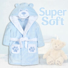 Baby Boys Robes Hooded Dressing Gown Blue Teddy Bear Fleece Plush Soft Cute Gift