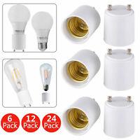 6/12/24-pack GU24 To E26/E27 LED Light Bulb Holder Adapter Socket Converter US