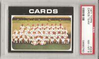 SET BREAK -1971 TOPPS # 308 CARDINALS TEAM CARD,  PSA 8 NM-MT, L@@K