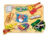 Melissa Doug Musical Instruments Sound Puzzle - Wooden Peg Puzzle (8 pcs)