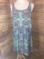 Peach Love California Blue Multi Kaleidoscope Print Dress Large Sleeveless
