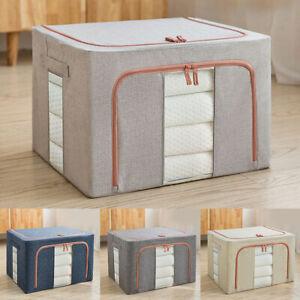 Folding Steel Framework Large Capacity Cotton Linen Zipper Clothes Storage Box