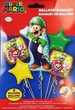 Nintendo Super Mario Luigi Happy Birthday Party Favor 5CT Foil Balloon Bouquet