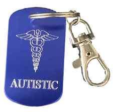 Personnalisé Autistic Sos Medical Alert Bleu Porte-Clé Gravé Gratuit