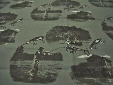 """GONE FISHING"" COTTON  PRINT-KHAKI/BLACK/GREY/WHITE-DRESS FABRIC-FREE P&P"