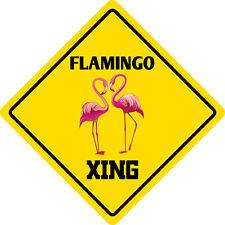 """*Aluminum* Flamingo Crossing Funny Metal Novelty Sign 12""""x12"""""""