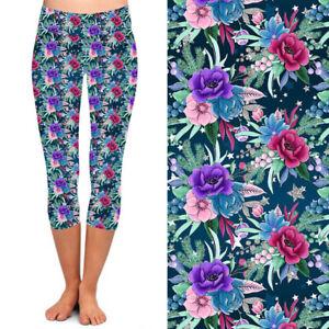 Pink Purple Blue Floral Flower Leaves Women's CAPRI Leggings Plus Size TC 10-18