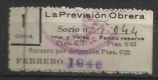 8374-SELLO ESPAÑA CUOTA LA PREVISION OBRERA EN CATALAN Y CASTELLANo 1946