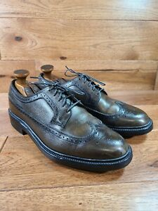 HANOVER LB Sheppard Olive Green Leather Long Wingtip Derby Wide Size 8.5 E/C