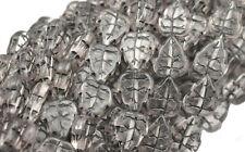 25 ROSALINE W BLACK INLAY GLASS LEAF BEADS 10MM